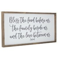 "Large Country Rustic Wood Wall Decor Sign ""Bless the food before us"" Plaque NEW"