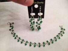 Pretty Green Czech Glass bead chainmaille bracelet earrings set sterling silver