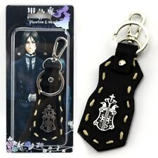 Anime Black Butler Sebastian Michaelis PU Leather Keychain Ornament Key Ring