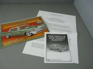 BROCHURE ONLY(NO CAR)-1/24-DANBURY MINT-1958 CHRYSLER NEW YORKER HARDTOP