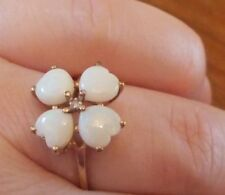 HEART LOVE SHAPE OPALs ring yellow gold estate diamond clover shamrock CAN SIZE