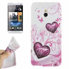 TPU Case für HTC One Mini M4 Herzen pink weiß Etui Hülle Cover Schutzhülle