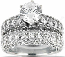 Bridal Set 14k White Gold G Si1 1.01 ct Round Diamond Engagement Ring Band