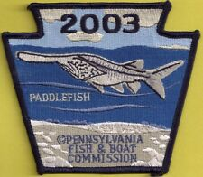 Pa Pennsylvania Fish Game Commission New Non-Game Series 2003 Paddlefish Patch