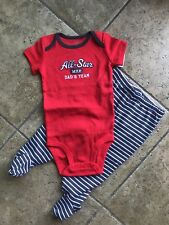 NWT CARTERS BABY BOYS DADS TEAM ALL STAR 2 PCS Sets 9m RED & Grey Striped