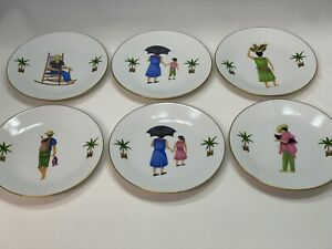 "Philippe Deshoulieres Caraibes 6"" Dessert Plate Tropical Island Limoges"