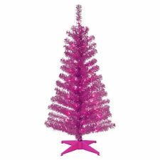 4 ft. Tinsel Pre-Lit Full Christmas Tree, Pink