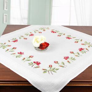 Stickpackung Kreuzstich Mitteldecke Rosenblüten ROSEN kompl. m. Garn,vorgedruckt