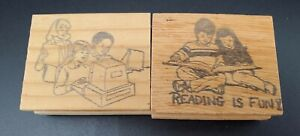 """Vintage rubber stamps lot """"Reading Is Fun"""" Kids And Computers"""