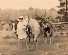HUNTRESS 2 BIG MULE DEER PACK HORSE HUNTING PHOTO 1900