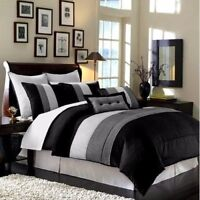 8-Piece Luxury Pintuck Pleated Stripe Black, Gray, and White Comforter Set Queen