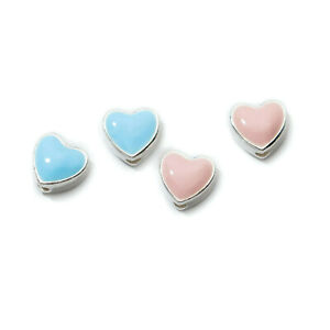 Sterling Silver Glazed Sky Blue Pink Puffy Love Heart Filigree Spacer Charm Bead