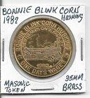 Masonic Token: Bonnie Blink Corn Husking, 1982, 35mm Brass