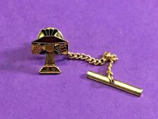 Tie Bar Clip Clasp Pin Stain Glass Lamp gold tone