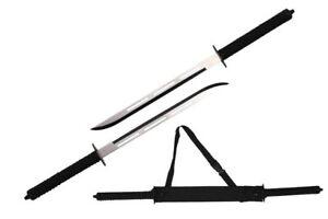 "26"" Full Tang Two Tone Blade Japanese Ninja Twin Sword Set w/ Shoulder Case NIB"
