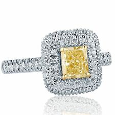 1.34 Ct Natural Radiant Cut Yellow Diamond Engagement Ring Halo 18k White Gold