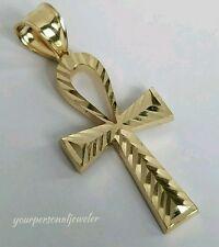 Solid 14k yellow Gold diamond cut Egyptian Cross ankh Pendant 1.50 inch long