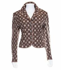 Moschino Brown Wool Blend 4 Button Cropped Patterned Blazer Size 44