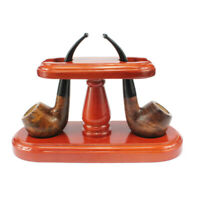 2 Pipes Wood Tobacco Pipe Stand Rack Holder Handmade Solid Wood For Smoking Pipe