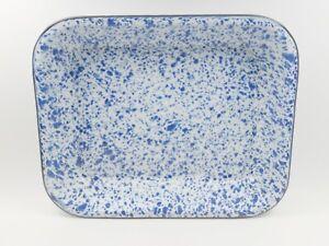 "Unbranded Spatterware Enamelware Rectangular Pan New 13.5""x11""x2 Blue White Tray"