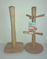 6 Peg Wooden Mug Tree and Kitchen Towel Holder in FSC Beech Wood  07631+ 07631