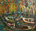 Expressionist Landscape river boats oil painting signed