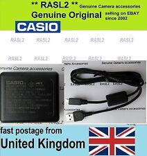 Original Cargador con Cable USB + Casio Exilim EX-ZR700 EX-ZR710 EX-ZR750 EX-ZR800