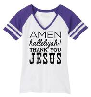Ladies Amen Hallelujah Thank you Jesus Game V-Neck Tee Religious Shirt