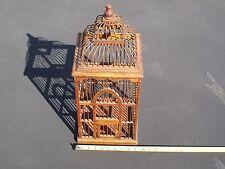 "VINTAGE Victorian Style UNIQUE Bent Wood Wooden Bird Cage, 9-1/4"" X 9-1/4"" X 22"""