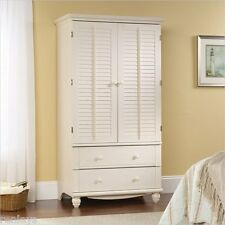 NEW Armoire Wardrobe Cabinet Furniture Storage Bedroom Closet Anitiqued White