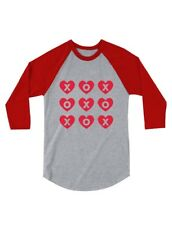 XOXOXO Valentine's Day Hearts & Kisses 3/4 Sleeve Baseball Jersey Toddler Shirt