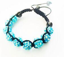 """USA"" Bracelet Rhinestone Crystal Ball Adjustable Handmade Shamballa Blue Summer"