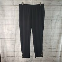 Talbots Womens Pull On Cropped Pants Sz Large Petite Black Skinny