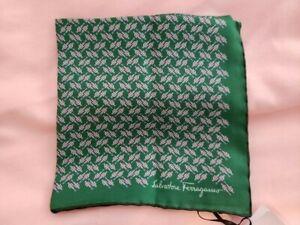 NEW Salvatore Ferragamo all-silk pocket square Made in Italy
