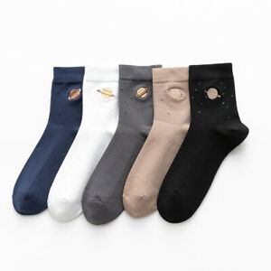 Solid Color Autumn Winter Men Sock Planet Embroidered Pure Cotton Stocking 1Pair