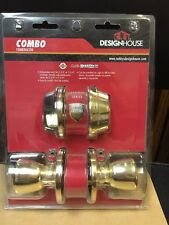 Design House Brass Terrace Entry Combo Set with Deadbolt and 6 Way Latch New