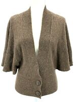 Anthropologie Moth Womens Brown Wing Sleeve Cardigan Sweater Size Small