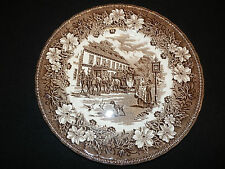 "ROYAL TUDOR WARE Coaching Taverns 1828 Brown 10"" Dinner Plate Staffordshire ENG"