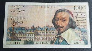 FRANCE - FRANCIA - FRENCH NOTE - BILLET DE 1000F RICHELIEU DU 1/12/1955 - G5.