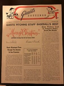 1967 SAN FRANCISCO Giants Jottings NEWSLETTER Willie MAYS McCOVEY Gaylord PERRY