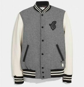 Coach Leather and Wool Varsity Jacket M