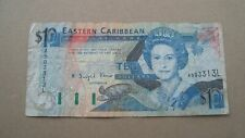 Eastern Caribbean $10 Banknote Well Circulated Valid Currency Queen Elizabeth