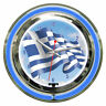 Greek Flag Greece Sign 2 Ring Neon Clock