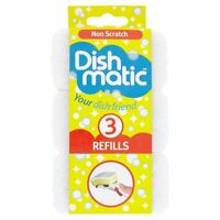 3 x Dishmatic Refill Sponges Non Scratch Scourer White Replacement Head New