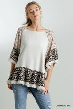 Umgee Floral And Animal Print Frayed Hem Bell Sleeve Tunic Top