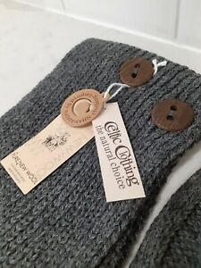 £65 NWT Celtic Sheepskin & Co 100% Merino Wool Grey Knit Hat Scarf Glove Set