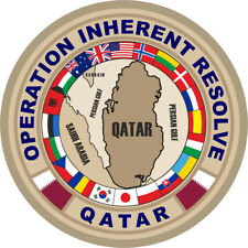 """OPERATION INHERENT RESOLVE HOOK LOOP WOVEN 4"""" FLAGS ALL NATIONS QATAR PATCH"""