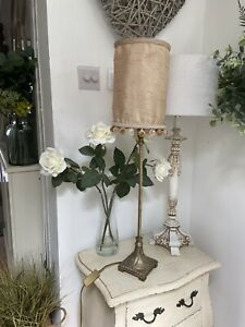 Beautiful Tall Vintage Traditional Hall Table Lamp Gold Pom Pom SILK Shade