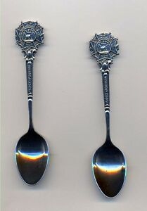 THE SOCIETY OF MINIATURE RIFLE CLUBS - TWO SPOONS - EPNS -  1908  + with BOX