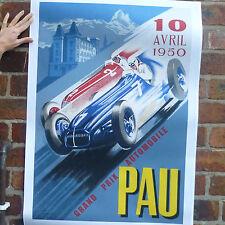 Pau 1950 grand prix vintage voiture poster motorsport course automobile poster-A4
